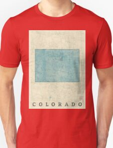 Colorado State Map Blue Vintage Unisex T-Shirt