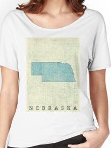 Nebraska State Map Blue Vintage Women's Relaxed Fit T-Shirt