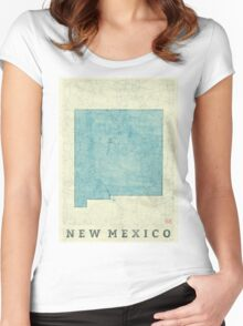 New Mexico State Map Blue Vintage Women's Fitted Scoop T-Shirt