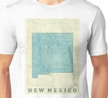 New Mexico State Map Blue Vintage Unisex T-Shirt