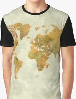 World Map Yellow Vintage Graphic T-Shirt
