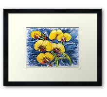 Bacon & Eggs Abstract Flower Painting Framed Print