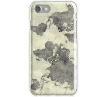 World Map Black Vintage iPhone Case/Skin