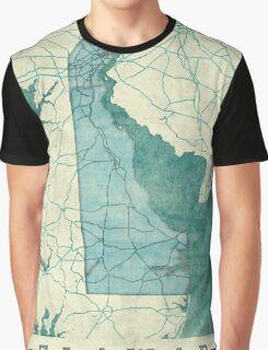Delaware Map Blue Vintage Graphic T-Shirt