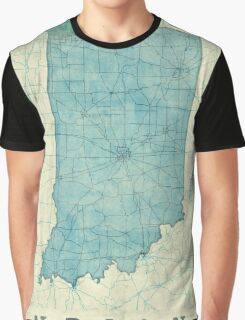 Indiana Map Blue Vintage Graphic T-Shirt