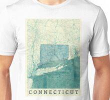 Connecticut Map Blue Vintage Unisex T-Shirt