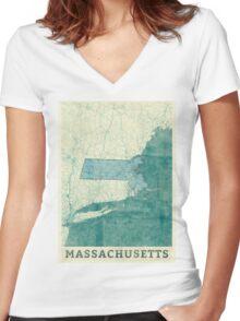 Massachusetts Map Blue Vintage Women's Fitted V-Neck T-Shirt