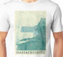 Massachusetts Map Blue Vintage Unisex T-Shirt