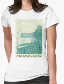 Massachusetts Map Blue Vintage Womens Fitted T-Shirt
