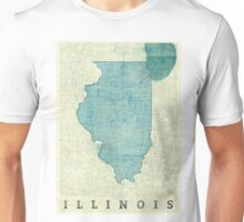 Illinois Map Blue Vintage Unisex T-Shirt