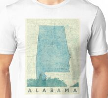 Alabama Map Blue Vintage Unisex T-Shirt