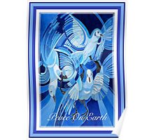 Peace On Earth Greetings With Doves Poster