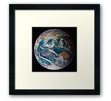 A full view of Earth showing global data for land surface, polar sea ice, and chlorophyll. Framed Print