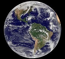 Full Earth showing Hurricane Paloma. by StocktrekImages