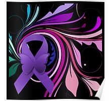 Purple Awareness Ribbon with Decoravtive Floral  Poster