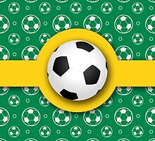 Football Soccer Australian Colours Green Gold Ball Pattern by Beverly Claire Kaiya