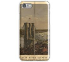 Maps Grand birds eye view of the Great East River Suspension Bridge. Connecting the cities of New York & Brooklyn iPhone Case/Skin