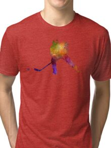 Hockey skater in watercolor Tri-blend T-Shirt