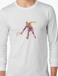 tennis player in silhouette 02 Long Sleeve T-Shirt