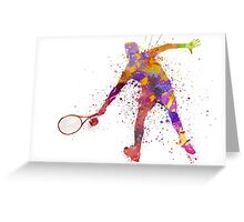 tennis player in silhouette 02 Greeting Card