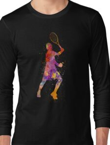 tennis player celebrating in silhouette 01 Long Sleeve T-Shirt