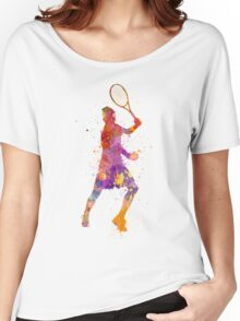 tennis player celebrating in silhouette 01 Women's Relaxed Fit T-Shirt