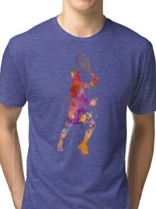tennis player celebrating in silhouette 01 Tri-blend T-Shirt