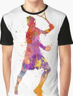tennis player celebrating in silhouette 01 Graphic T-Shirt