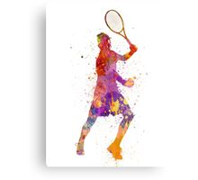 tennis player celebrating in silhouette 01 Canvas Print