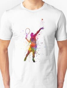 tennis player at service serving silhouette 01 Unisex T-Shirt