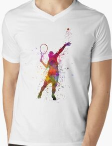 tennis player at service serving silhouette 01 Mens V-Neck T-Shirt