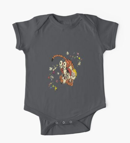 calvin-and-hobbes-fighting One Piece - Short Sleeve