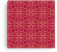 Luxury Golden Seamless Pattern on Red Canvas Print