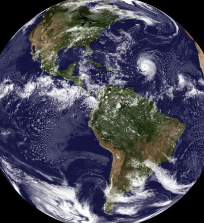 Full Earth showing North America and South America.  Sticker