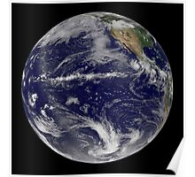 Satellite image of Earth centered over the Pacific Ocean. Poster
