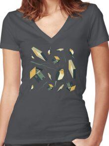 Flying Birdhouse (Pattern) Women's Fitted V-Neck T-Shirt