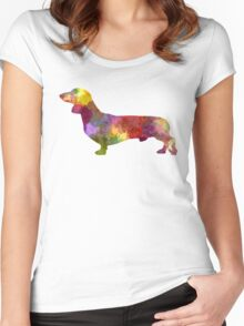 Dachshund in watercolor Women's Fitted Scoop T-Shirt