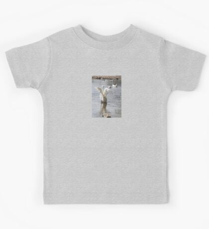 White Duck Flapping Wings on Water Kids Tee