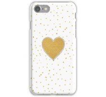 Elegant romantic gold heart faux glitter dots  iPhone Case/Skin