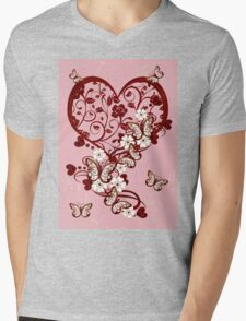 Hearts and Butterflies Mens V-Neck T-Shirt