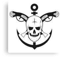 The skull of the sailor. with muskets behind Canvas Print