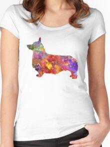 Pembroke Welsh Corgi 01 in watercolor Women's Fitted Scoop T-Shirt