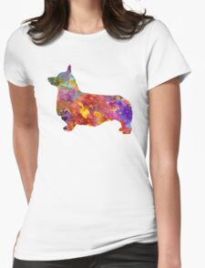 Pembroke Welsh Corgi 01 in watercolor Womens Fitted T-Shirt