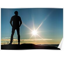 Man looking into the distant sunset Poster