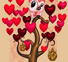Owl in a tree of Hearts by LoneAngel