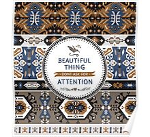Decorative noir pattern in tribal style Poster