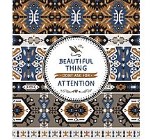 Decorative noir pattern in tribal style Photographic Print