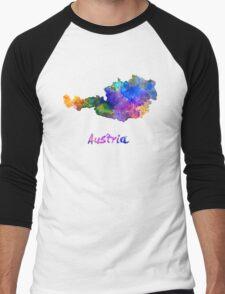 Austria in watercolor Men's Baseball ¾ T-Shirt