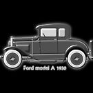 A digital painting of my vector drawing of The Ford Model A of the 1930s in greyscale by Dennis Melling