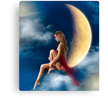 beautiful woman night fairy on moon Canvas Print